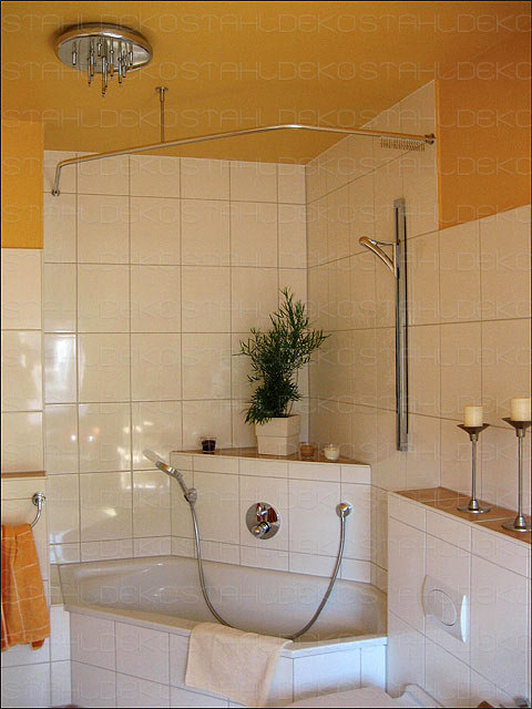 shower curtain rod for quadrant shower tubs with aluminium. Black Bedroom Furniture Sets. Home Design Ideas