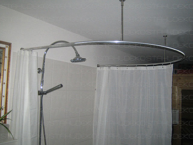 Shower Curtain Rod For Quadrant Shower Tubs With Aluminium