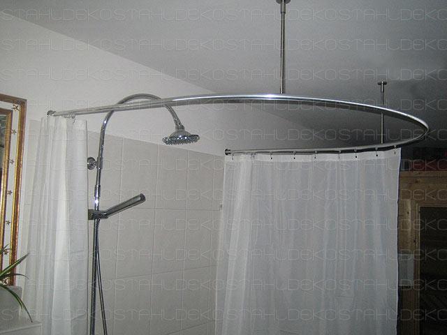 Shower curtain rod for quadrant shower tubs with aluminium profile ...