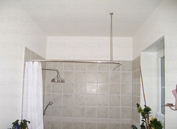 Bathroom furnishing: Ø 20mm angle shower curtain rod, L-shaped, with ...