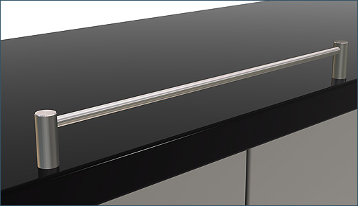 for kitchen railing Pfosten10 for shelf bottoms, kitchen working surfaces or cooking area separation