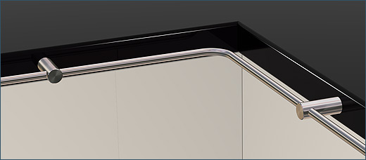 Railing Pfosten 10 over the corner, otside or inside corner, can be implemented with joint or bending